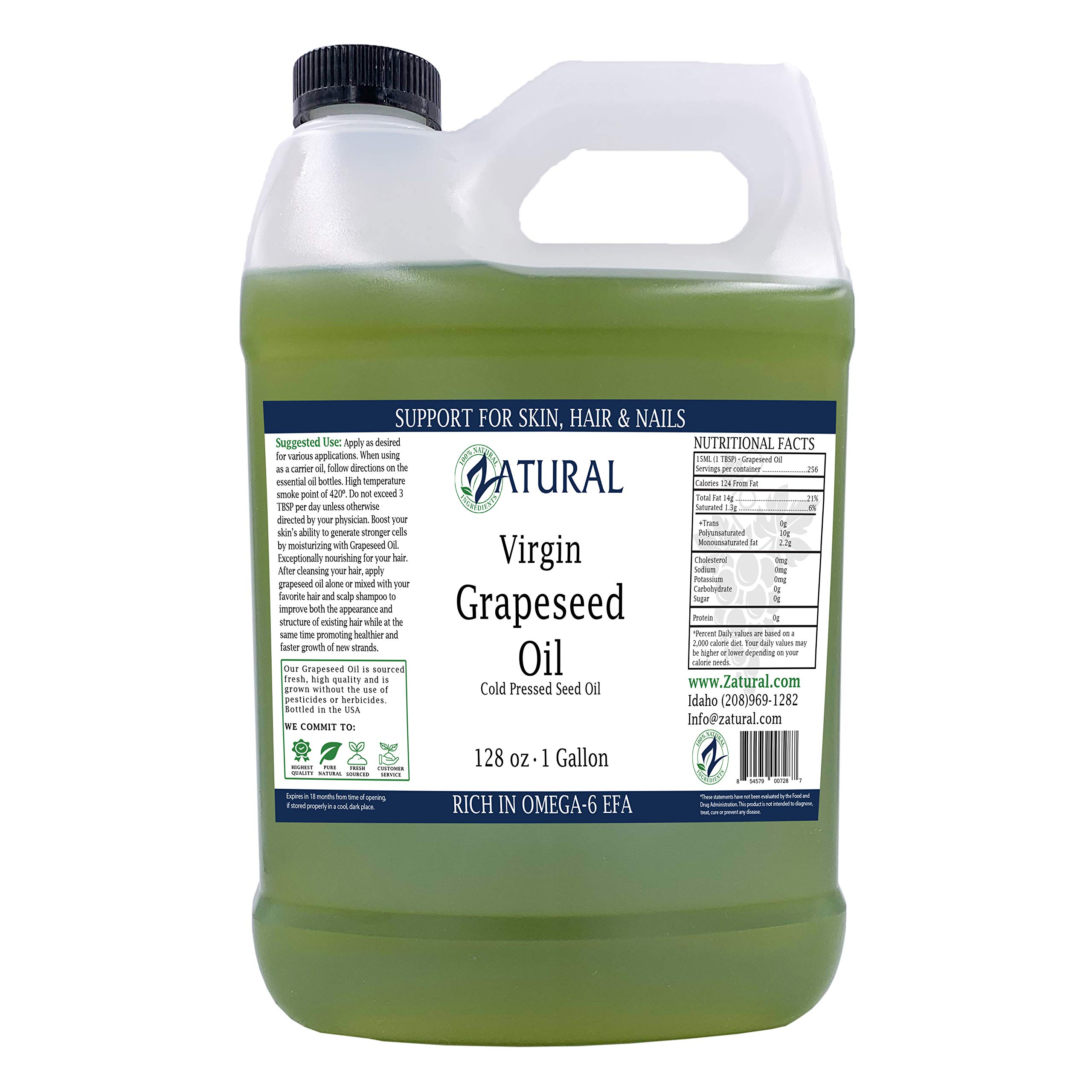 GrapeSeed Oil-Cold Pressed, Virgin, Undiluted, 100% Pure Grape Seed Oil (128 Ounce (1 Gallon)) by Zatural