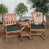 Angled Garden Patio Companion Set Love Seat Two Chairs Table Tete-a-Tete Bench