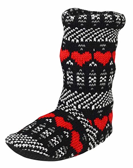 503b886e43eb Marilyn   Main Women s Fleece Cable Knit Rain Boot Liner Slipper Socks  (Small Medium