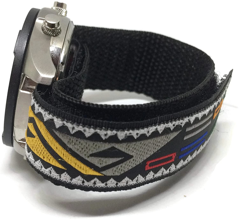 Velcro Watch Band 20 mmブラックwithパターン  B078PHBGC5