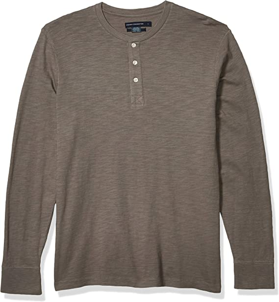 French Connection Mens 3 Button Solid Color Cotton Henley Shirt
