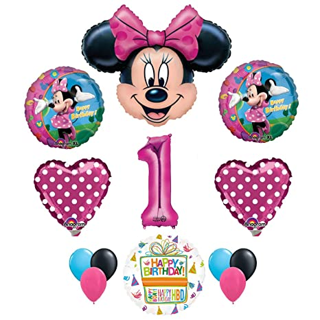 Amazon Minnie Mouse 1st Birthday Party Supplies And Pink Bow 13 Pc Balloon Decorations Toys Games