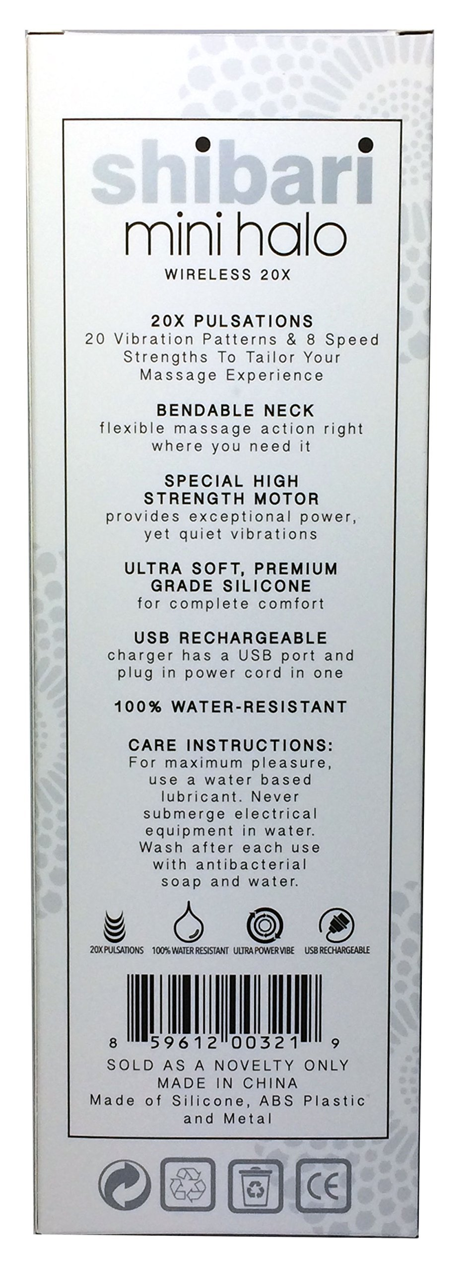 Shibari Mini Halo,''The Original'' Compact Power Wand Massager, Wireless, 20x Multi-speed Vibrations (Black)