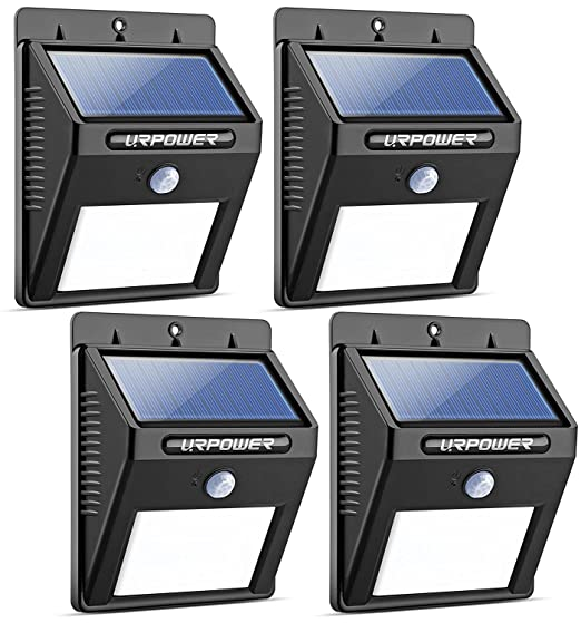 URPOWER Solar Lights 8 LED Wireless Waterproof Motion Sensor Outdoor Light for Patio, Deck, Yard, Garden with Motion Activated Auto On/Off (4-Pack) at amazon