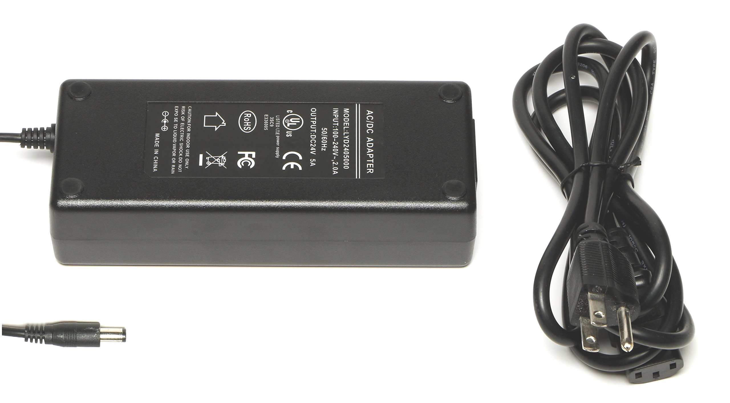 WS-PS-24v120w 24 volt 120 watt power supply for PoE injectors and other 24v projects, 5 amps max, UL, FCC, DoE approved, 2.1mm connector