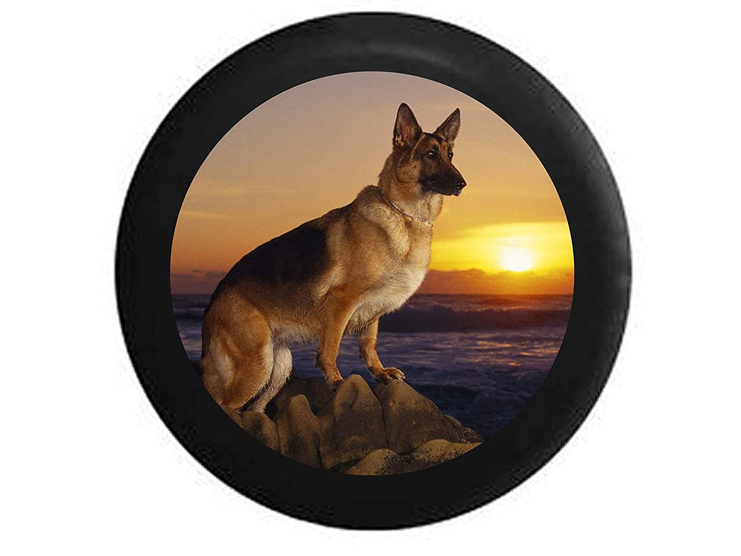 Full Color German Sheppard Dog pearched on Rocks overlooking the Water Sunset Spare Tire Cover Black 35 in Pike Outdoors