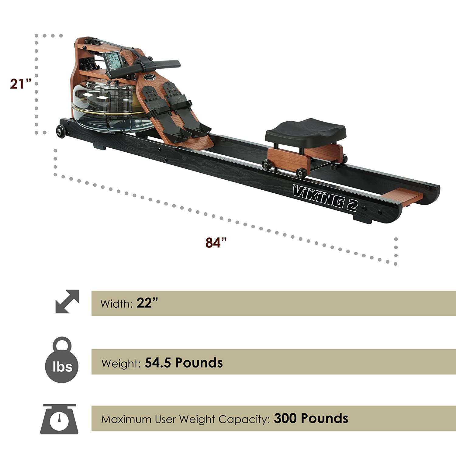 First Degree Fitness Indoor Water Rower with Adjustable Resistance – Viking II Black Reserve