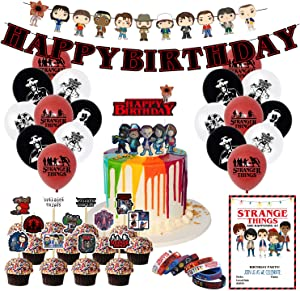 Nelton Birthday Party Supplies For Stranger Things Includes Banner - Cake Topper - 24 Cupcake Toppers - 18 Balloons - 10 Invitations - 8 Bracelets