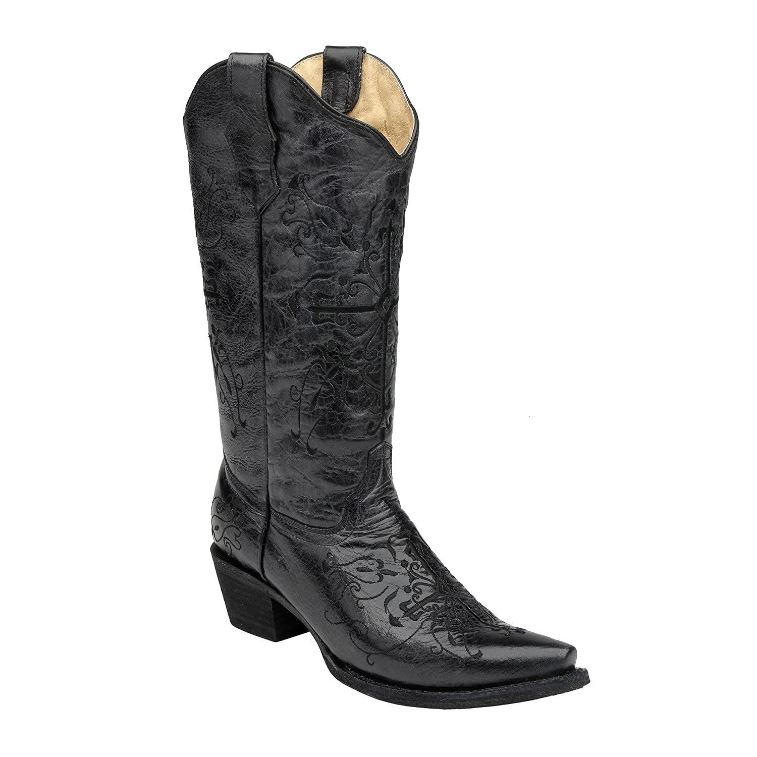 c718e194dc3 Corral Women's Circle G Cross Embroidery Snip Toe Western Cowboy Boots Black