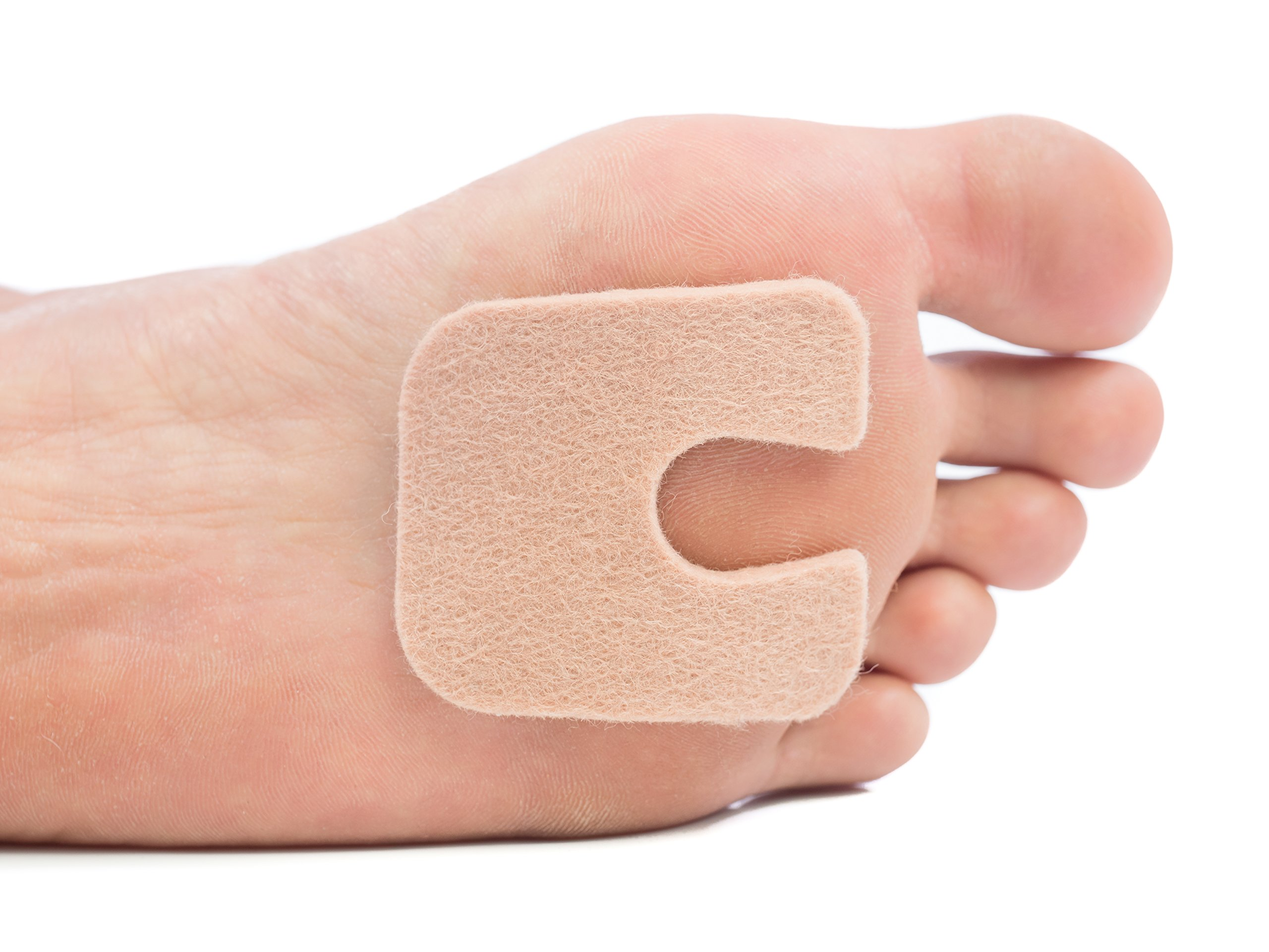 "ZenToes U-Shaped Felt Callus Pads | Protect Calluses from Rubbing on Shoes | Reduce Foot and Heel Pain | Pack of 24 1/8"" Self-Stick Pedi Cushions"