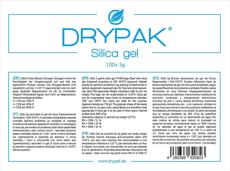 DRYPAK | 100 x 5 gramos | BOLSAS DESECANTES DE GEL DE SÍLICE | Deshumidificador, regenerable