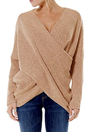 332844af47c87f YOINS Women Cross Wrap Front Knit V Neck Irregular Hem Jumper Sweater Long  Sleeves Tops,