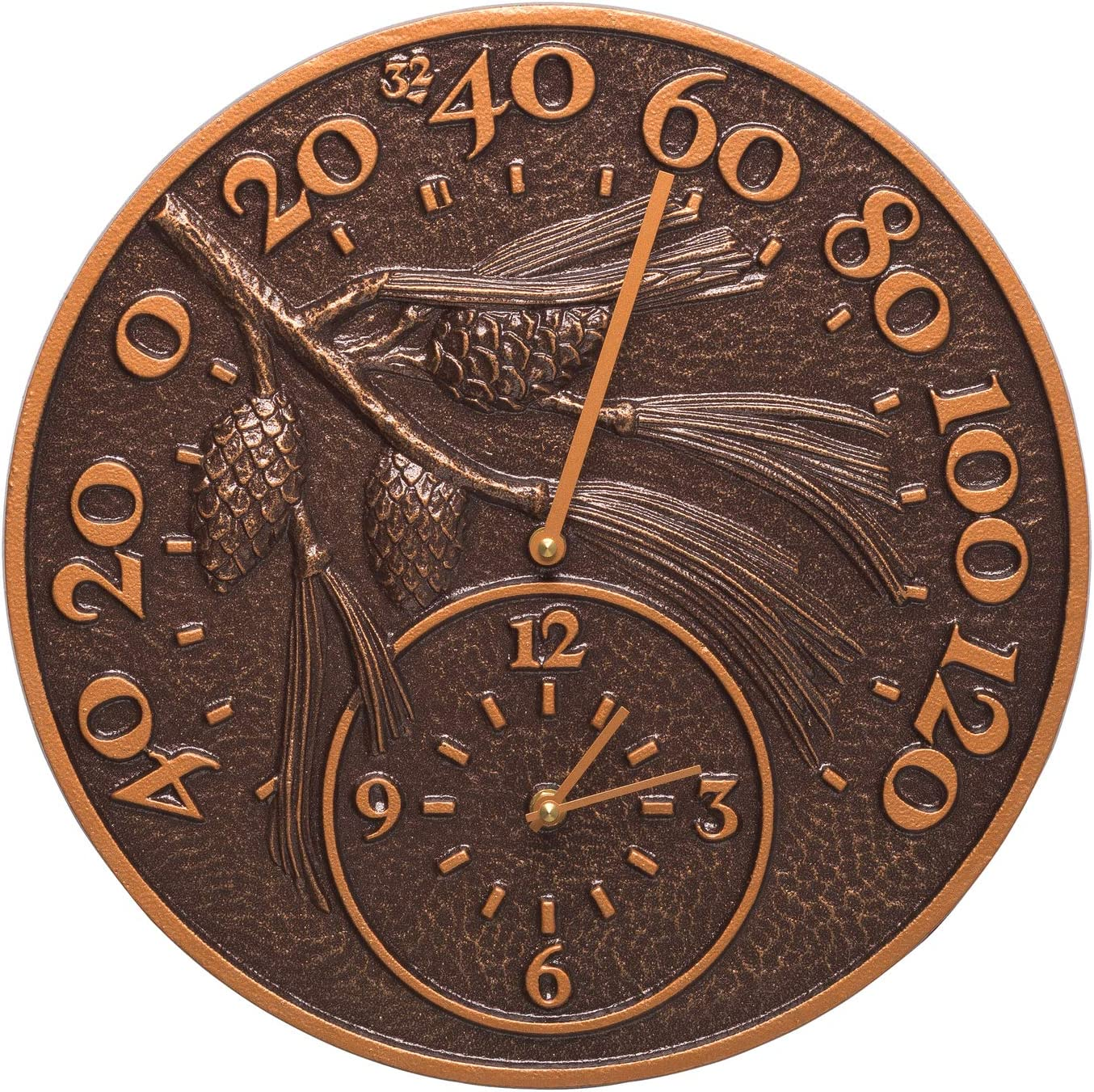 A picture of Whitehall Products 01789 Pinecone Thermometer Clock Combo to better look into Best outdoor clocks 2020