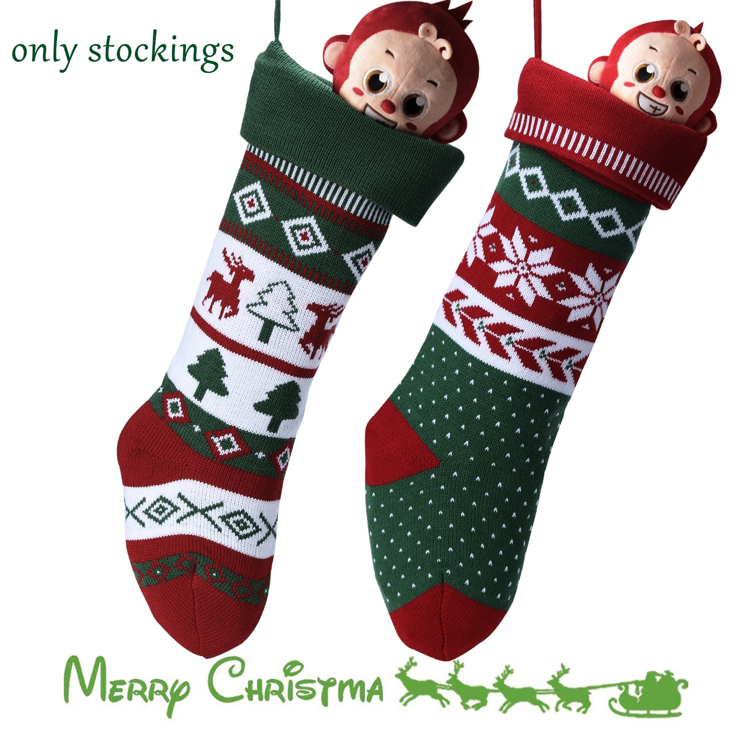 Knit Christmas Stockings for Family 22'' x 7'' Sets of 2 – Red/White/Green Snowflake knitted Hanging Bags - Holiday Gift - Decor,Decorations Christmas Tree,Mantel by Dragon Squama