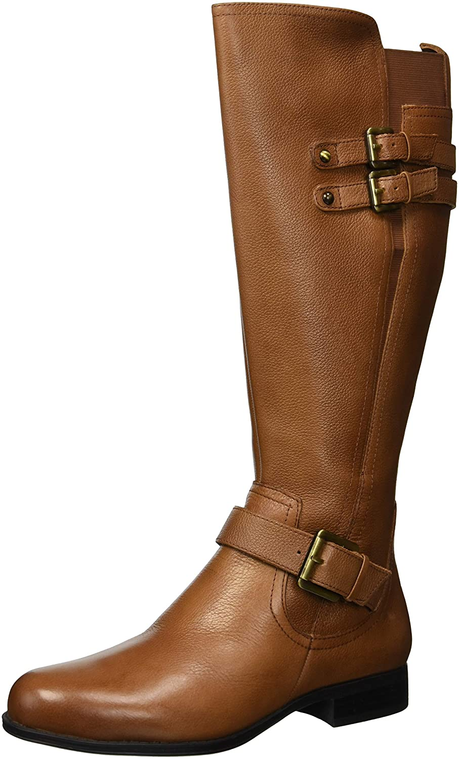 Women's Jessie Knee-High Triple-Buckle Straps Low-Heel Tan Real Leather Boots - DeluxeAdultCostumes.com