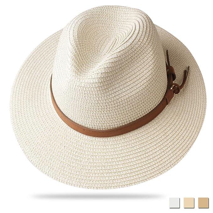 e5a4f470332 FURTALK Panama Hat Sun Hats for Women Men Wide Brim Fedora Straw Beach Hat  UV UPF