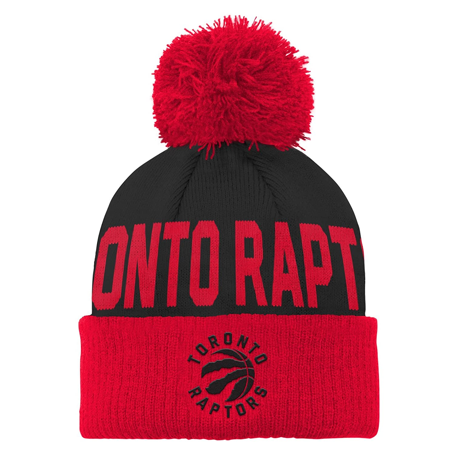 66c99616d78 Amazon.com : NBA Toronto Raptors Children Boys Cuffed Knit with Pom Hat, 1  Size, Black : Sports & Outdoors
