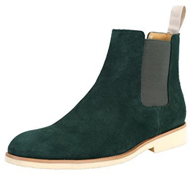 89283332c2e SANTIMON Men's Formal Dress Casual Ankle Chelsea Boot Suede Leather Slip on  Chukka Boots Black Brown Green