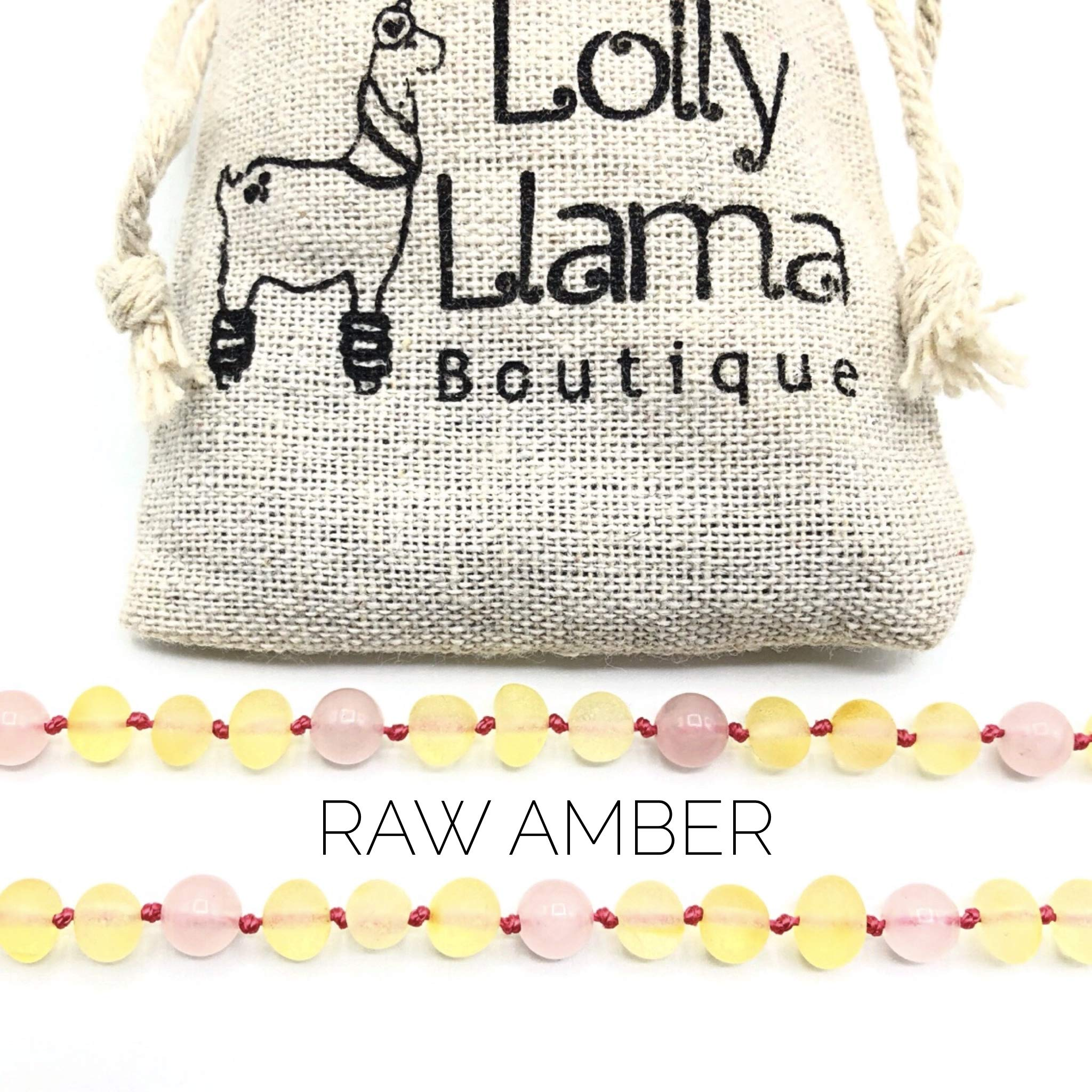 Raw Amber Teething Necklace for Babies (Unisex) Teething Pain Relief - Certified Genuine Baby Baltic Amber Necklace Honey Rose (15 Inches) by Lolly Llama