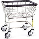 R&B Wire 100E Heavy Duty Wire Laundry Cart, 2.5 Bushel, Chrome