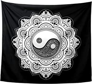 RLoncomix Ying Yang Tapestry Black and White Mandala Tapestry Wall Hanging Mystic Art Tapestry Wall Hanging Beach Blanket, 51.2