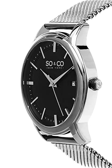 Amazon.com: SO&CO New York Mens 5207.2 Madison Quartz Black Dial Date Stainless Steel Mesh Bracelet Watch: Watches
