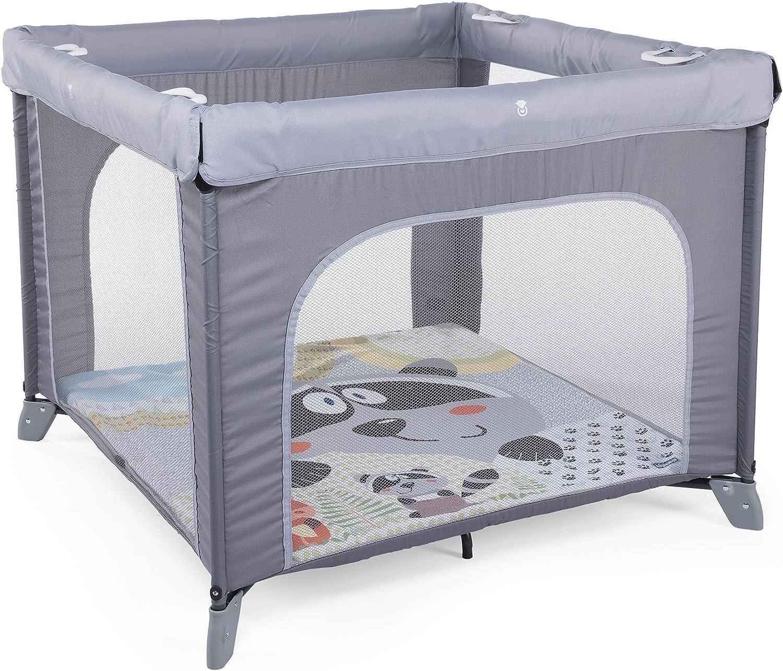 Chicco Open Box Parque de juegos infantil con alfombra extraíble, Gris (Honey Bear)