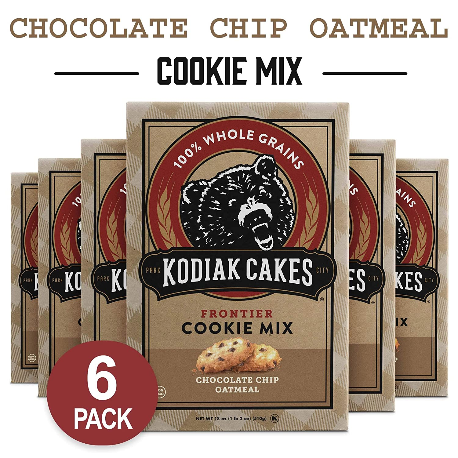 Kodiak Cakes Chocolate Chip Oatmeal Cookie Mix, 18,Ounce Boxes (Pack of 6)  (Packaging May Vary)