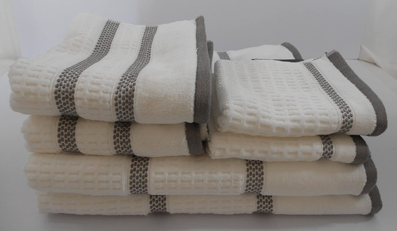 Hotel Vendome Blanco Gris Rayas Juego de toallas 6 piezas: Amazon.es: Hogar