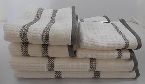 Hotel Vendome Blanco Gris Rayas Juego de toallas 6 piezas