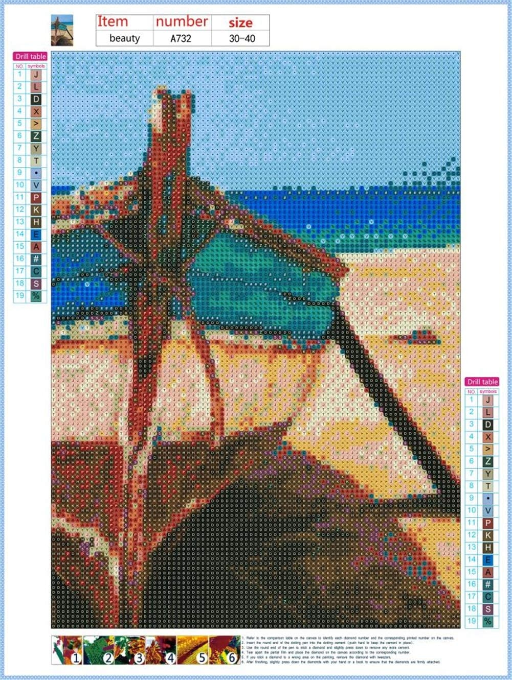DIY 5D Diamond Painting Kits By Number Full Drill Seaside Boat, 30X40cm Home 40X30CM Diamond art Embroidery Cross Stitch Pictures Arts Craft Home Wall Decor Gift