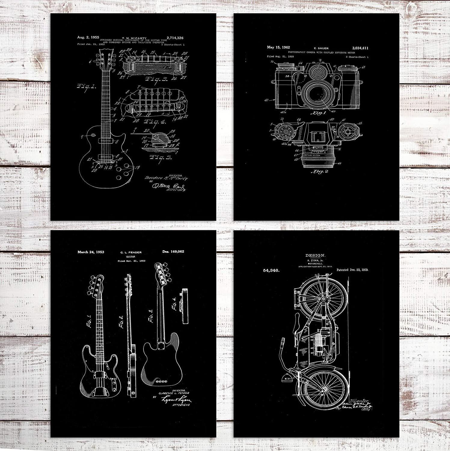 Wall Art For Living Room Vintage Camera Guitar Motorcycle Wall Decor Blueprint Prints Painting Pictures Artwork Office Poster (Set of 4) -Unframed- 8x10in