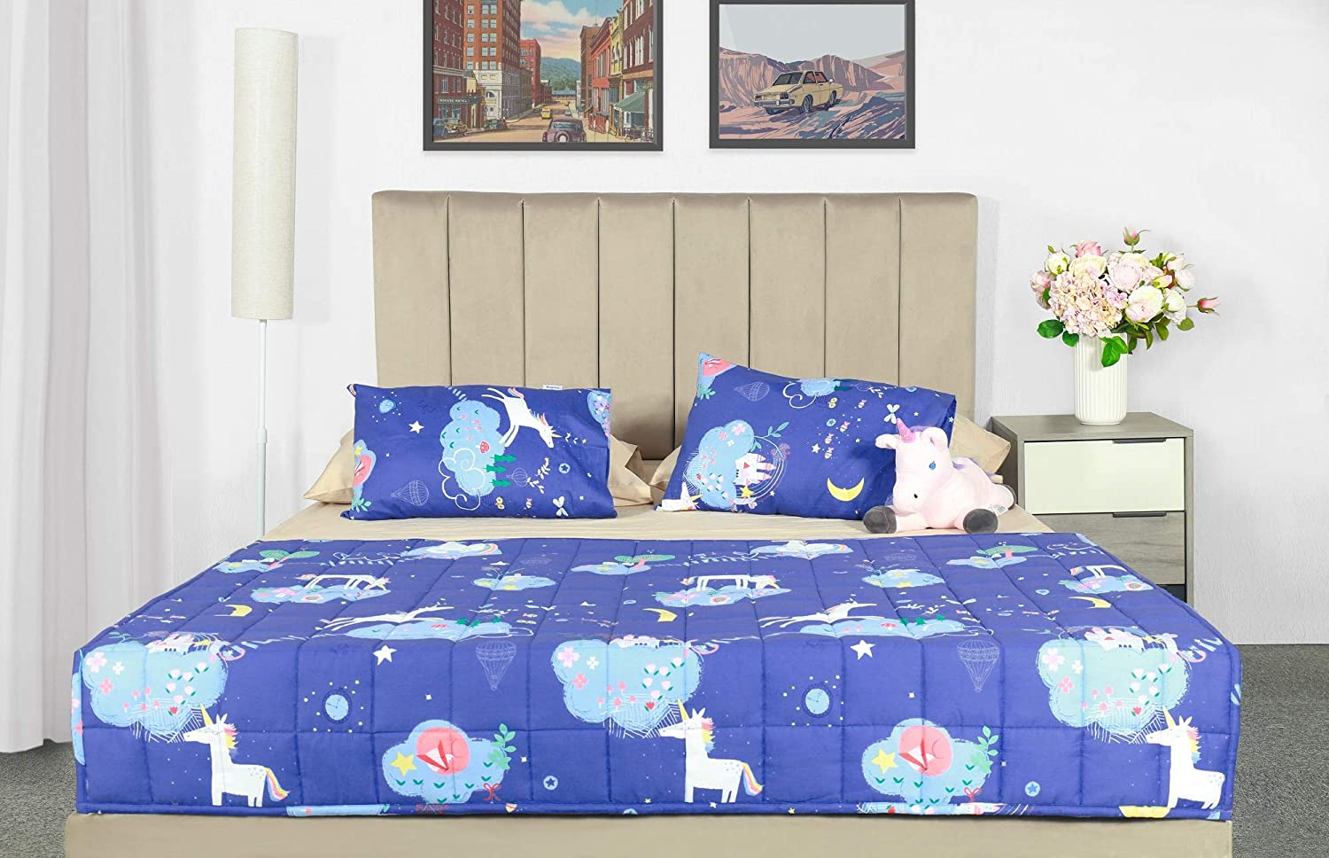 5lbs 600TC Egyptian Cotton Weighted Blanket for Reading with Glass Beads White Dinosaur Joyching Weighted Lap Pad for Kids 20 x 30 inches