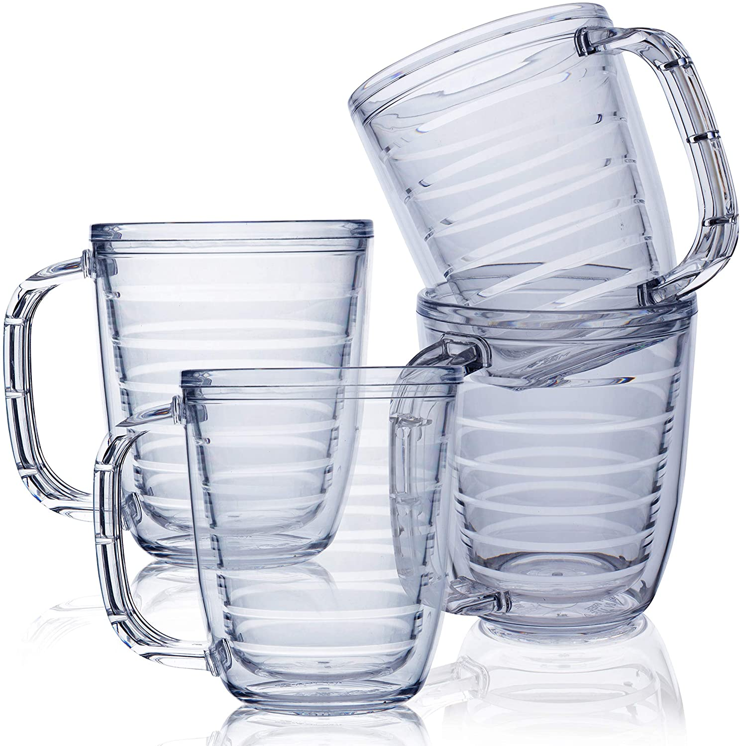 Tritan Plastic Mugs - Clear Insulated 12 Ounce Coffee Cups - Double Wall Insulation - Scratch-Resistant Chip-Proof Shatterproof Clear Coffee Mug in Packs of 4