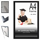 A4 Plain Black Photo Picture Certificate Clay:Roberts Frame Wall & Desk Mountable