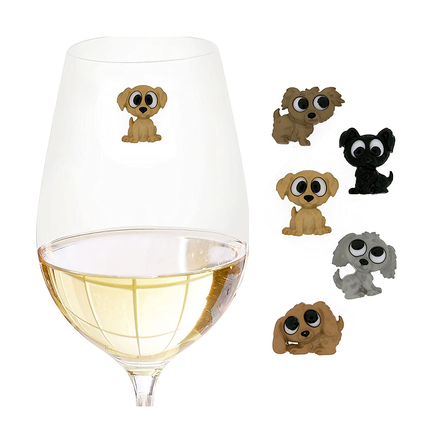 Big Eyed Dog Wine Charms or Glass Markers for Stemless Glasses - Set of 5 - Great Gift for Dog Lovers - Cute Puppy Glass Identifiers