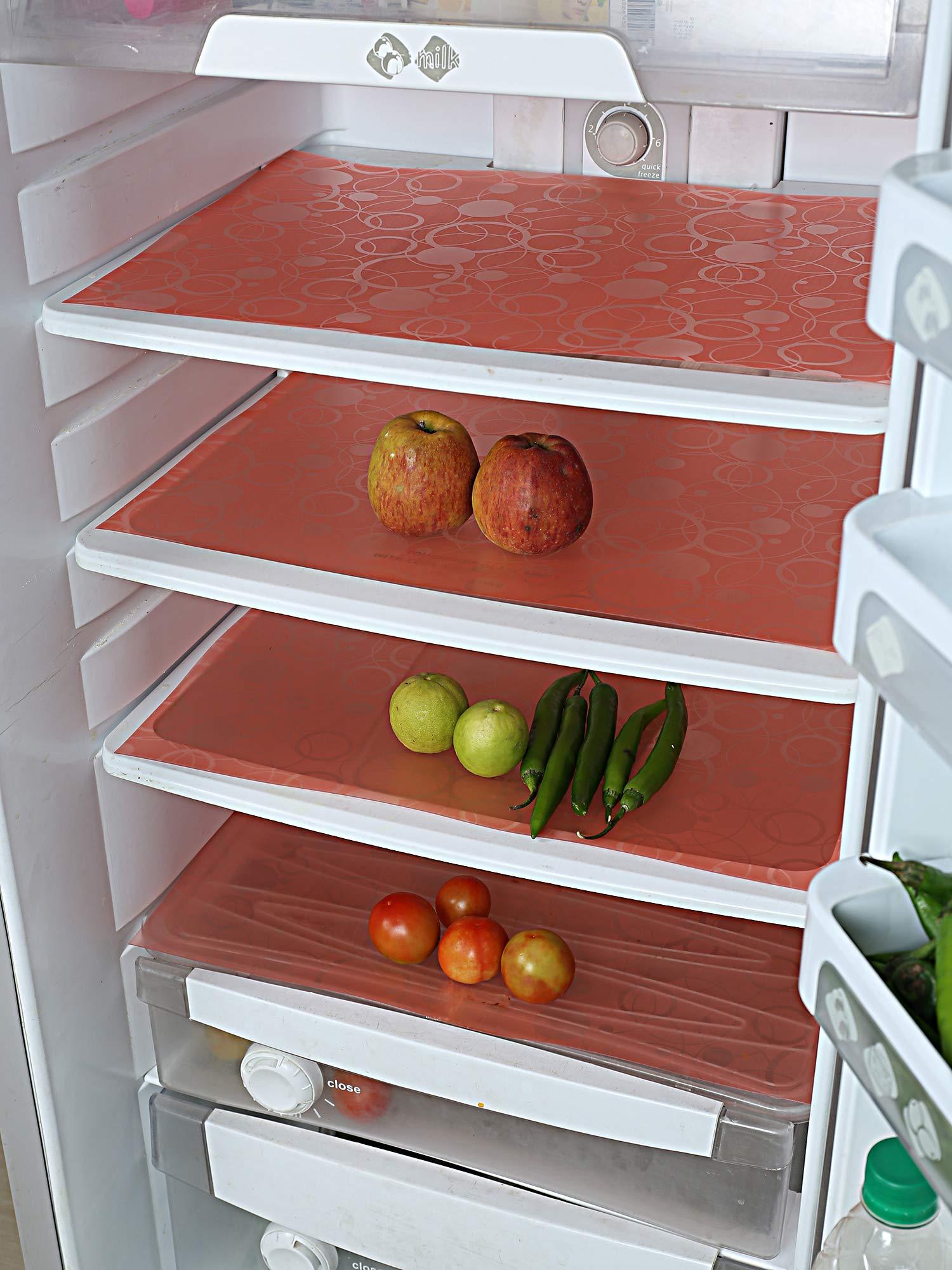 Kuber Industries Circle Design 6 Piece PVC Refrigerator Drawer Mat Set - 19