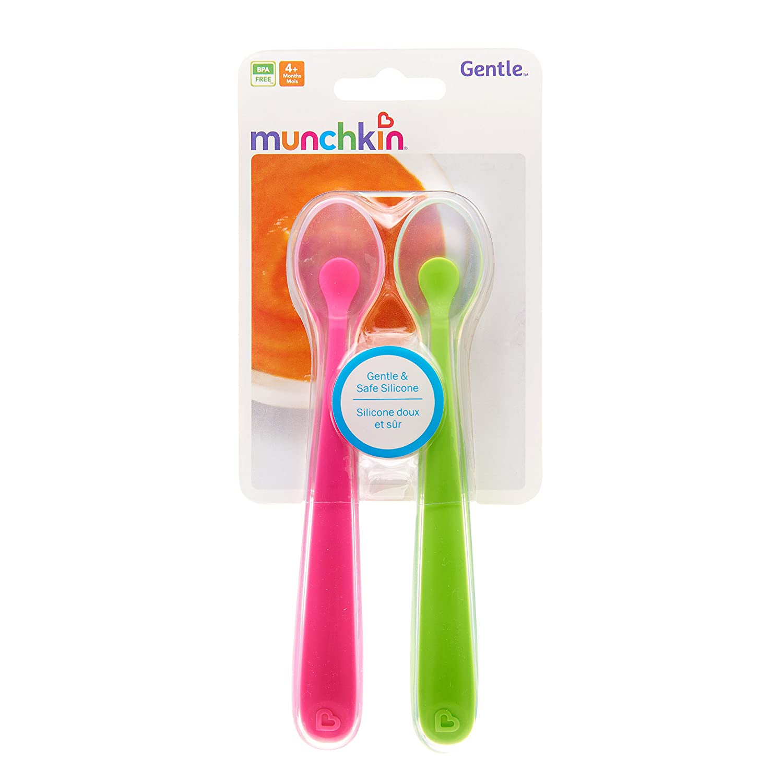 Munchkin Gentle Silicone Spoon Pink//Green