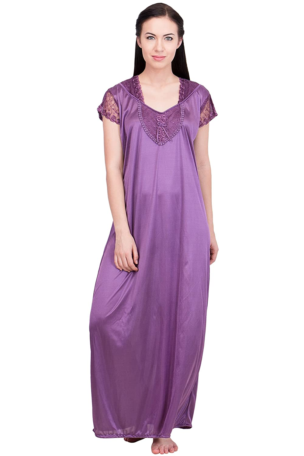 c82712cf20 Lesuzaki Multi Color Long Satin Nighty (Pack of 3) Combo  Amazon.in   Clothing   Accessories