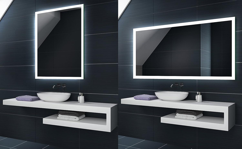 Blanc Froid 50 x 70 cm | Verticale - Horizontale Illumination LED miroir sur mesure eclairage salle de bain | Mural