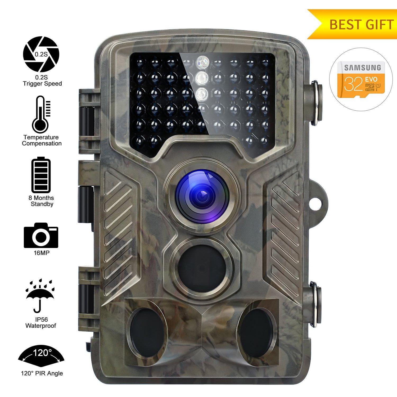 Fivanus Wildkamera 16MP 1080P Wildkamera Fotofalle Low-Glow-Infrarot 20m Nachtsicht Jagdkamera 120°Breite Vision 25m Erfassungsbereich Wasserdicht IP56 Überwachungskamera Nachtsichtkamera H801-W