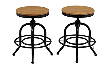 btexpert solid pair industrial counter height bar stool adjustable natural bamboo wood top metal seat swivel