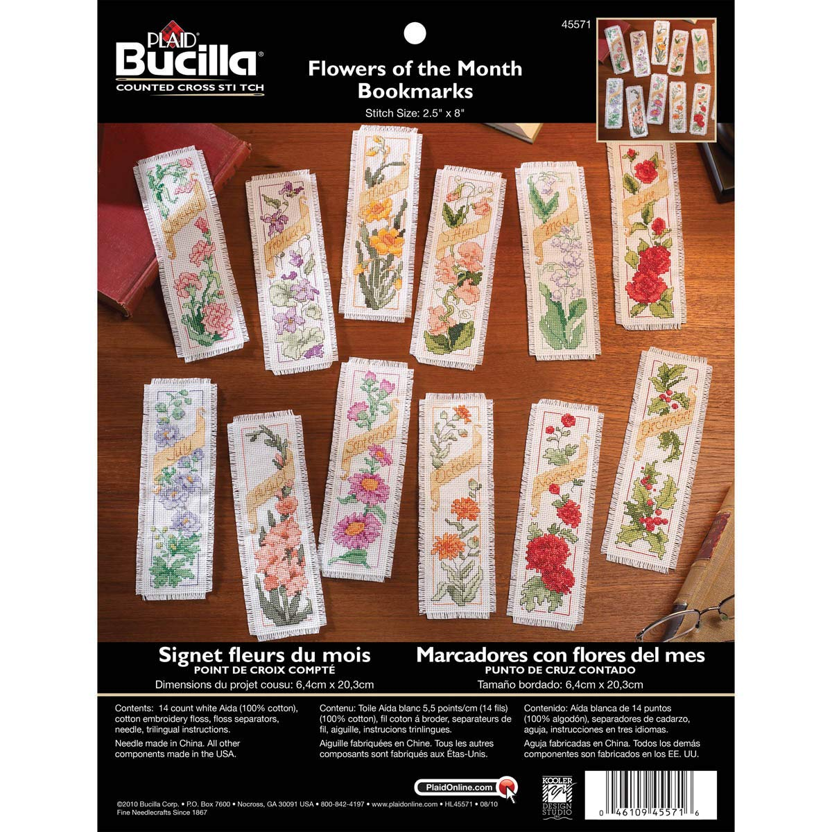2.5 by 8-Inch 45571 Flowers of The Month Set of 12 Bucilla Counted Cross Stitch Bookmark Kit