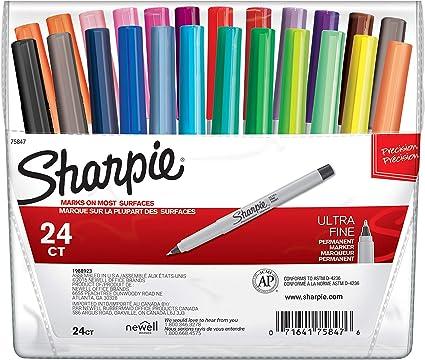 Sharpie – Juego de rotuladores permanentes de escritura ultrafina negros (12 unidades), color colores variados 24-Count: Amazon.es: Oficina y papelería