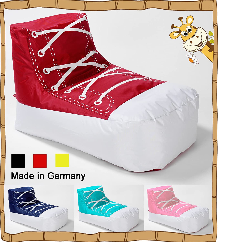 4 Trendy Living Kinder Sitzsack JUNIOR Sneaker/Chuck / Schuh/LazyBag / In- u. Outdoor geeignet / 80x45x55 cm/rosa-Weiss