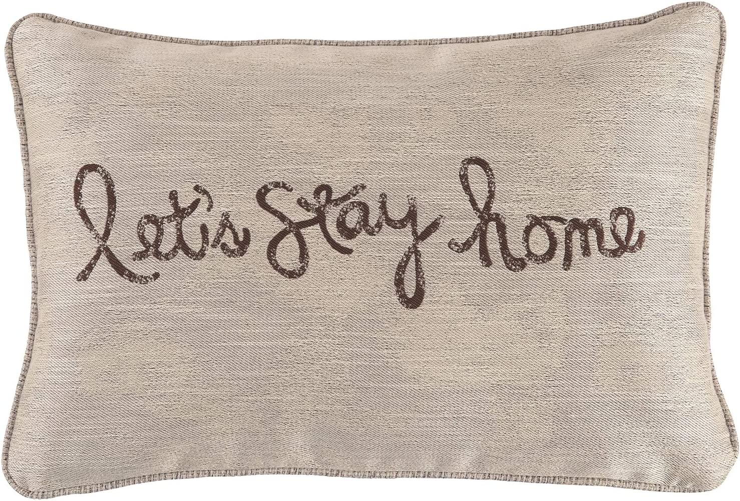 Signature Design by Ashley - Let's Stay Home Scriped Throw Pillow, Chocolate/Tan