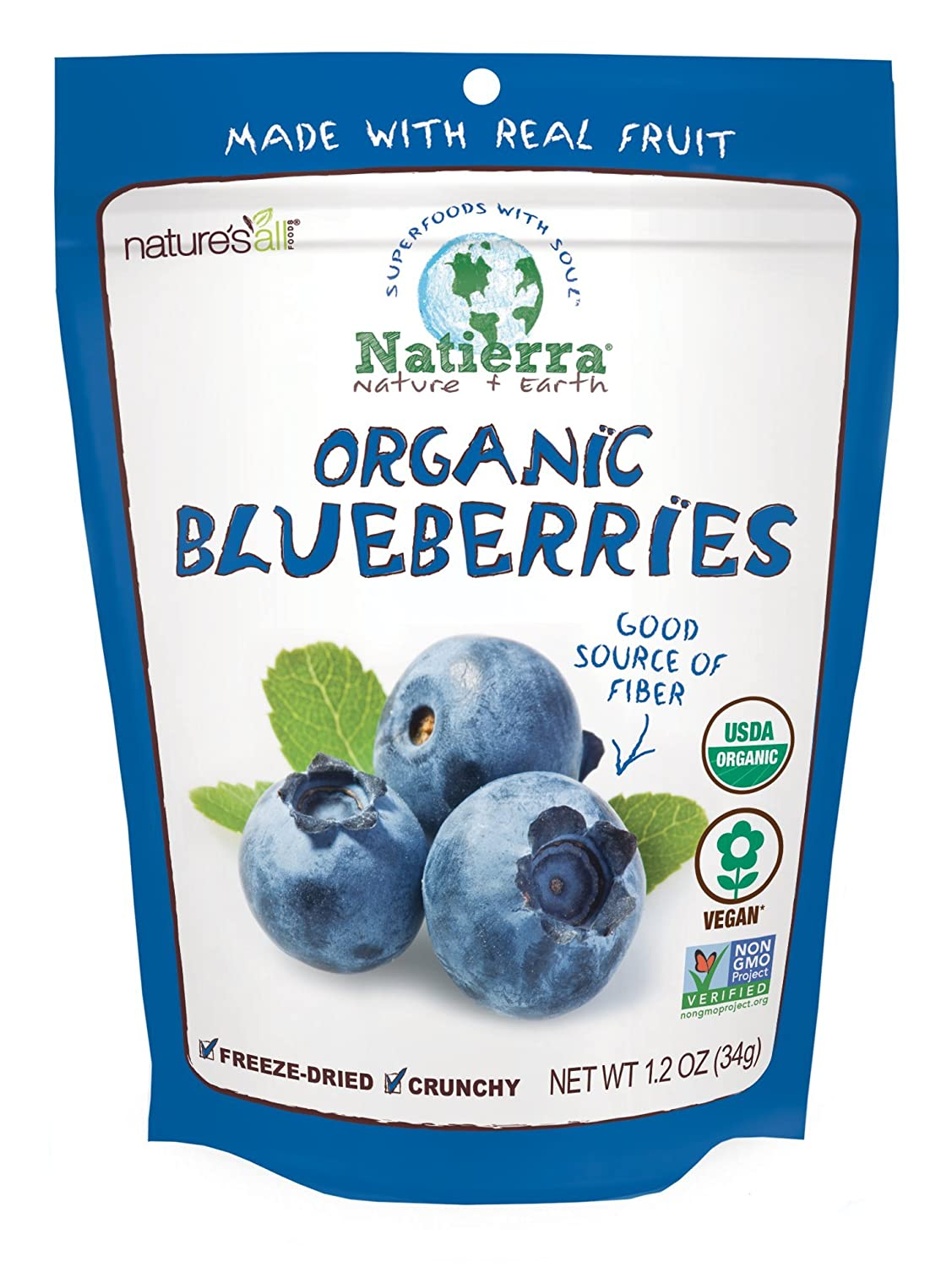 NATIERRA Nature's All Foods Organic Freeze-Dried Blueberries | Non-GMO & Vegan | 1.2 Ounce