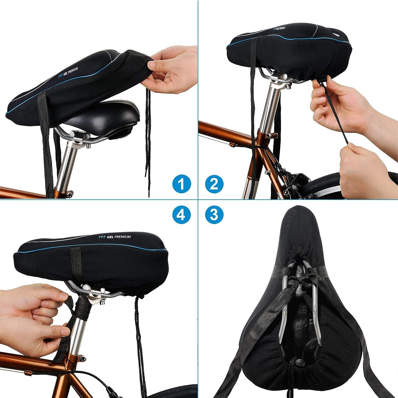 Almohadilla de Sill/ín de Bicicleta Gel de Espuma Viscoel/ástica Coj/ín de Bicicleta C/ómodo para la Mayor/ía de Las Bicicletas YOUKUKE Funda de Asiento de Bicicleta
