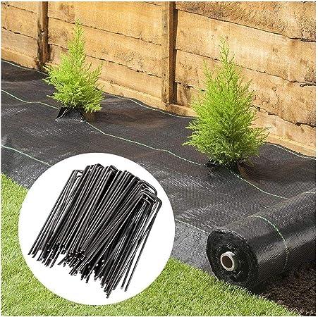Hello 1m x 100m Weed Membrana de Tierra Cubierta de Tela jardín del Paisaje de Control de Servicio Pesado, Negro, con 100 Clavos: Amazon.es: Hogar