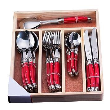 Colores de vuelo de cubiertos. Estilo de Laguiole 34 piezas Juego de cubiertos (acero inoxidable, Color rojo de plástico ABS toreinforced): Amazon.es: Hogar